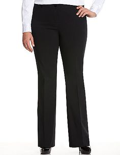 Sleek & modern Sexy Stretch fabric adds a little wow factor to our curve-loving Lena bootcut pant. Ideal for work to weekend outfitting, this versatile pant offers the perfect bit of stretch to flatter and flares below the knee to balance a moderately-curvy silhouette. Four pocket style with button & zip fly closure and belt loops.  lanebryant.com