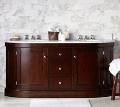 Brinkley Demilune Double Sink Console | Pottery Barn