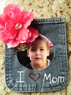 Mothers day picture magnet made from a jean pocket