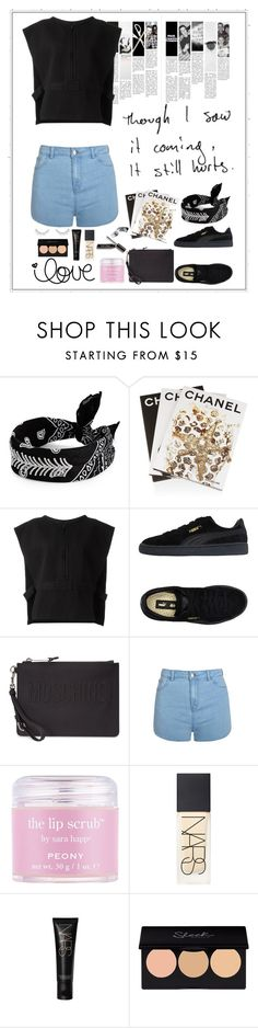 """Untitled #360"" by rhiannonpsayer on Polyvore featuring Fallon, Assouline Publishing, Love Quotes Scarves, adidas Originals, Puma, Moschino, Ally Fashion, Sara Happ, NARS Cosmetics and Forever 21"