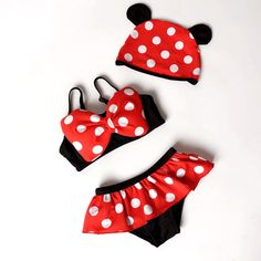 BOWKNOT POLKA DOTS TODDLER GIRLS SWIMMING SUIT