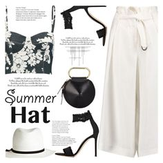 """#summerhat #contestentry"" by lisamichele-cdxci ❤ liked on Polyvore featuring Amanda Wakeley, Crate and Barrel, L'Agence, Gianvito Rossi, Calypso Private Label, 3.1 Phillip Lim and summerhat"