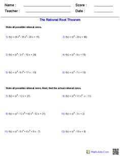 The Rational Root Theorem Worksheets