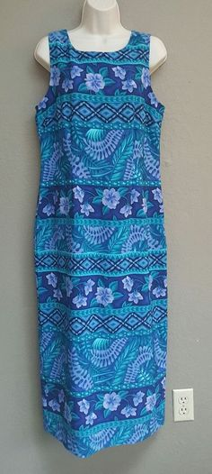 Kathie Lee Womens Size 10 Blue Purple Floral Hawaiian Sleeveless Maxi Dress | Clothing, Shoes & Accessories, Women's Clothing, Dresses | eBay!