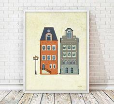 houses print, house print, amsterdam print, poster house, wall art print, wall art decor, nursery print, nursery decor, amsterdam print