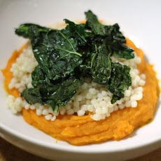 Couscous with Sweet Potato Puree and Kale Chips