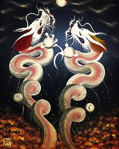 """Artist Keisuke Teshima from Kyoto, Japan demonstrated the known as """"hitofude-ryu"""", or the painting of colorful dragons with a single brush stroke. Imperial Dragon, Creature Concept Art, Japanese Dragon, Dragon Art, Brush Strokes, Painting Inspiration, Cats And Kittens, Spirituality, Creatures"""