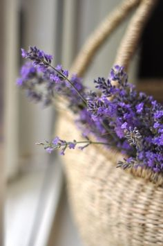Place #lavender in a #wicker basket for instant #rustic charm.