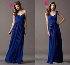 Wholesale Bridesmaid Dress - Buy New Two Styles Sweetheart/V-Neck Long Chiffon Bridesmaid Dresses Cheap Party Dress Ivory/Coral/Red/Royal Blue/Lavender/Purple $68.17 | DHgate