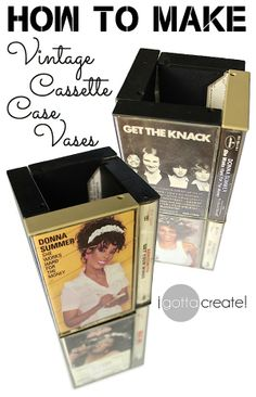 Retro Cassette Case Vase tutorial: Wind up with a great conversation piece for a music-themed party, wedding or shower using vintage cassette cases! Visit I Gotta Create! Music Centerpieces, Reunion Centerpieces, Class Reunion Decorations, Party Centerpieces, Centrepieces, Decade Party, 80s Party, Music Themed Parties, Music Party
