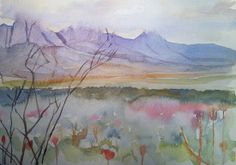 View of the Hottentots Holland mountains, from Helderberg, Somerset West. Watercolour, 2014.
