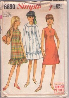 MOMSPatterns Vintage Sewing Patterns - Simplicity 6890 Vintage 60's Sewing Pattern DARLING Mod Twiggy Drop Waist Ruffle Trim, Lace Insertion Party Dress, Summer Styles Size 5JP