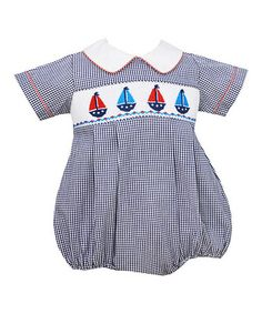 Another great find on #zulily! Blue Sailboats Smocked Bubble Bodysuit - Toddler & Boys #zulilyfinds