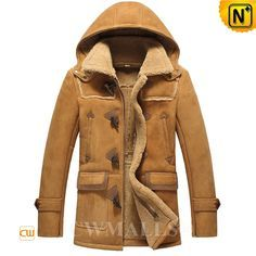 CWMALLS® Vintage Sheepskin Shearling Hooded Jacket CW836016 CWMALLS vintage sheepskin hooded jacket designed with front OX Horn button and YKK zip closure, flap pockets, zip chest pockets. This shearling duffle  jacket in natural supple sheepskin shearling material imported Netherlands, keep you warm and comfort. www.cwmalls.com PayPal Available (Price: $1615.89) Email:sales@cwmalls.com