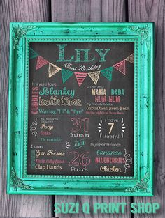 First Birthday Chalkboard Sign with Bunting on it: so cute... this would match our party colors perfectly!
