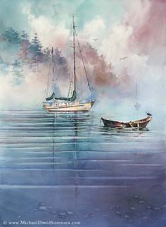 In the Mist - watercolor painting by Michael David Sorensen