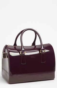 Furla 'Candy' Rubber Satchel available at #Nordstrom (I also saw this bag in green and blue... I want it so...)