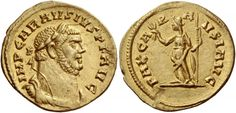 Carausius (286-293). Aureus, 4.20 g, Londinium, October 286-March 287. IMP CARAVSIVS P F AVG. Laureate, draped and cuirassed bust r. / PAX CA – R – A VSI AVG. Pax standing l., holding olive branch and vertical sceptre. C –. RIC 5. Depeyrot 2/5. Shiel 4. Calicó 4782. Of the highest rarity, apparently the second specimen known. An unusually attractive portrait struck on a full flan, minor mark on reverse field at seven o'clock, otherwise good extremely fine/extremely fine. $369.504.