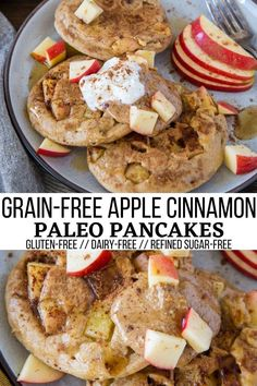 Paleo Apple Pancakes made with almond flour. Grain-free, refined sugar-free, dairy-free healthy pancake recipe that makes for a marvelous fall treat! Amazingly cinnamony and studded with fresh apples.