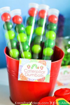 Hungry Little Caterpillar 3rd Birthday Party Favors (Gumball Tubes) via Kara's Party Ideas | Kara Allen KarasPartyIdeas.com #partyideas #caterpillarparty #hungrylittlecaterpillarparty #hungrylittlecaterpillar
