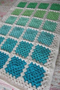 Crochet Granny Square Baby Afghan Blanket - Aquaholic - Aquas and Greens on White: