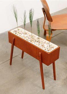 1960s Danish Modern Teak Floor Planter Mid Century Eames Era