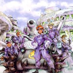 Dominion Tank Police by Masamune Shirow for the new OVA series. This is scanned from my Dominion 97 calendar. Art Manga, Art Anime, Manga Artist, Comic Artist, Manga Anime, Character Inspiration, Character Design, Masamune Shirow, Perspective Art