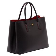 Prada Saffiano Cuir Double Bag in black and red (note  no zipper)