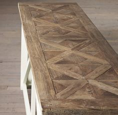 RH's Parquet X-Brace Console Table:We topped a substantial, trestle-style table…