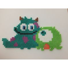 Baby Mike and Sulley - Monsters Inc perler beads by kg.crafts