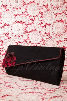 Ruby Shoo - 50s Evette Enveloppe Clutch in Black and Red