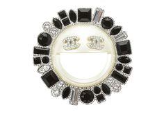 Chanel Crystal Smiley Emoji Brooch