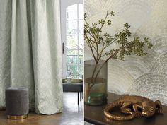 CASADECO OXFORD : The flower prints are wonderfully detailed, delicate and lush. The geometric shapes have tapered lines and beautiful curves. Exterior Design, Interior And Exterior, Noir Ebene, Photo Pattern, Beautiful Curves, Room Set, Flower Prints, Geometric Shapes, Oversized Mirror