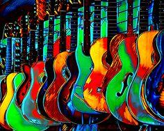Colour of Music, by Pennie McCracken.  Wonderful work!  #guitars #colors #music #digital