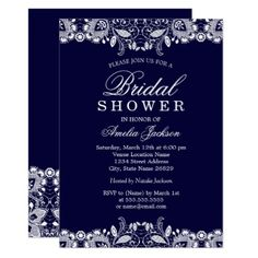 Navy blue silver glitter dots bridal shower invitation pinterest vintage white lace navy bridal shower card shower gifts diy customize creative filmwisefo