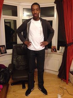 """This is Marcus, he is a middle/working class, black, heterosexual male in their early 20's. He is wearing jeans with a plain top to emphasize his class. He is married to Sara and he is the protagonist. The fact that Sara and Marcus are in an inter-racial marriage goes against normal thriller conventions but this is a positive thing as we are challenging societies """"norms"""". The stereotypical hero is white so the fact that we have chosen a black hero challenged thrillers norms in a positive…"""