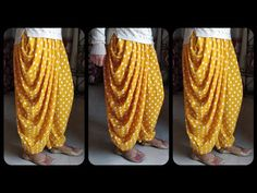 In this sewing tutorial I will tell you how to make dhoti salwar step by step in hindi. In this video I have told the easiest method possible to make dhoti s. Sleeves Designs For Dresses, Fancy Blouse Designs, Dress Neck Designs, Dhoti Salwar Suits, Salwar Pants, Patiala Salwar, Sharara, Girls Dresses Sewing, Dress Sewing Patterns