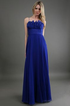 Phoebe Couture - Ruffle Front Gown in Blue at @CoutureCandy.com