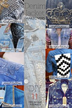 Denim Jacket makeovers | time to update and restyle that old denim jacket | 11 easy, fun tutorials help you to make a personal statement