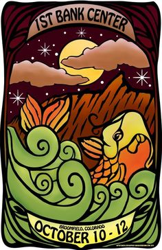 Original concert lot poster for PHISH at the 1st Bank Center in Broomfield, Colorado 2010. 11x17 card stock. Limited edition of only 75!! Signed and numbered by artist Maria DiChiappari. Made with love!!