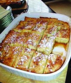 Recipe for French Toast Bake - I love this recipe because it is so easy, economical. and oh-so-delicious! The best part is that it is made the day before so there is no fuss on the day you consume it….perfect for a Sunday afternoon or brunch. Breakfast For Kids, Breakfast Dishes, Breakfast Recipes, Breakfast Ideas, Birthday Breakfast, Breakfast Muffins, Breakfast Club, Mini Muffins, Muffin Recipes
