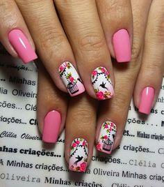 Gel Nail Art, Easy Nail Art, Gel Nails, Acrylic Nails, Fancy Nails, Pretty Nails, Animal Nail Art, Floral Nail Art, Short Nails Art