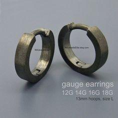 d66a67809 Gauge earrings - 14 Gauge earrings - body jewelry - 10 gauge 12 gauge 16  gauge 18 gauge - black gauged hoop earrings - E190 Gauge