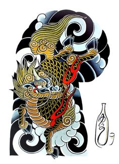 "108 Japanese tattoo sleeve designs by Yushi ""Hori Dragon Japanese Tattoo, Japanese Tattoo Art, Japanese Tattoo Designs, Japanese Sleeve Tattoos, Japanese Design, Yakuza Tattoo, Tattoo Samurai, Foo Dog Tattoo, Full Sleeve Tattoo Design"