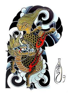 "108 Japanese tattoo sleeve designs by Yushi ""Hori Dragon Japanese Tattoo, Japanese Tattoo Art, Japanese Tattoo Designs, Japanese Sleeve Tattoos, Japanese Design, Yakuza Tattoo, Tattoo Samurai, Foo Dog Tattoo, Tatoo Designs"