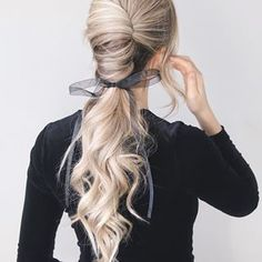 Learn how to style a french twist ponytail and more at LuvlyLongLocks.com!