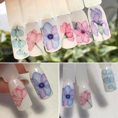 New Nails Summer Designs Cute Nailart Ideas Manicure Nail Designs, Nail Manicure, Manicures, Nail Art Designs, Nails Design, Water Color Nails, Water Nails, Nail Art Aquarelle, Gel Nail Art
