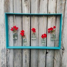 Build a simple wood frame to hang vases - wall decor, diy flower vase