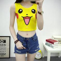 DROP PING Wholesale Fashion Women Cartoon Short Tank Top Sleeveless Crop Tops T-Shirt Pokemon Tank Camisetas mujer