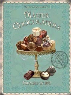 Master Chocolatiers Francis Beaumont & Co Tin Sign Retro Vintage, Vintage Labels, Vintage Kitchen, Vintage Style, Tin Signs, Wall Signs, Etiquette Vintage, Decoupage Vintage, Poster Prints